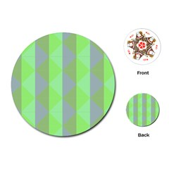 Squares Triangel Green Yellow Blue Playing Cards (Round)