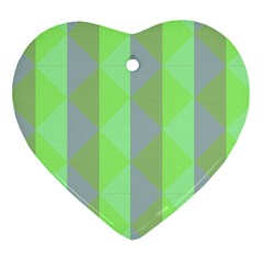 Squares Triangel Green Yellow Blue Heart Ornament (Two Sides)