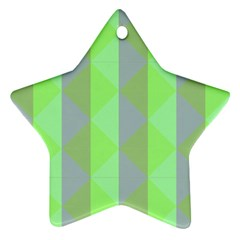 Squares Triangel Green Yellow Blue Star Ornament (Two Sides)