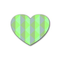 Squares Triangel Green Yellow Blue Rubber Coaster (Heart)