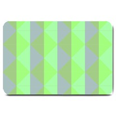 Squares Triangel Green Yellow Blue Large Doormat