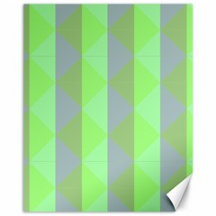 Squares Triangel Green Yellow Blue Canvas 11  x 14