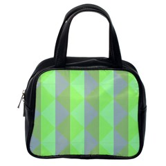 Squares Triangel Green Yellow Blue Classic Handbags (One Side)