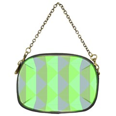 Squares Triangel Green Yellow Blue Chain Purses (One Side)