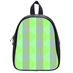 Squares Triangel Green Yellow Blue School Bags (Small)