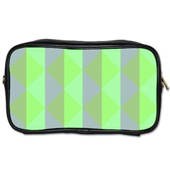 Squares Triangel Green Yellow Blue Toiletries Bags 2-Side