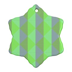 Squares Triangel Green Yellow Blue Snowflake Ornament (Two Sides)