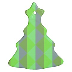 Squares Triangel Green Yellow Blue Christmas Tree Ornament (Two Sides)