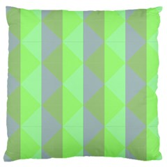 Squares Triangel Green Yellow Blue Large Cushion Case (Two Sides)