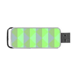 Squares Triangel Green Yellow Blue Portable USB Flash (One Side)