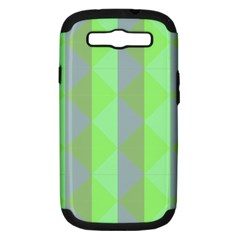 Squares Triangel Green Yellow Blue Samsung Galaxy S III Hardshell Case (PC+Silicone)