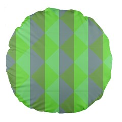 Squares Triangel Green Yellow Blue Large 18  Premium Round Cushions
