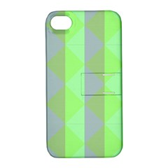 Squares Triangel Green Yellow Blue Apple iPhone 4/4S Hardshell Case with Stand