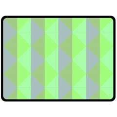 Squares Triangel Green Yellow Blue Double Sided Fleece Blanket (Large)