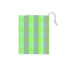 Squares Triangel Green Yellow Blue Drawstring Pouches (Small)