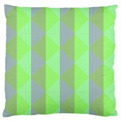 Squares Triangel Green Yellow Blue Large Flano Cushion Case (One Side)