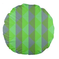 Squares Triangel Green Yellow Blue Large 18  Premium Flano Round Cushions