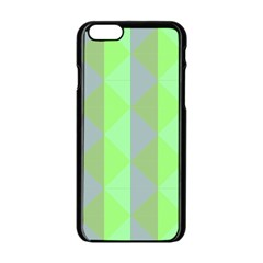 Squares Triangel Green Yellow Blue Apple iPhone 6/6S Black Enamel Case