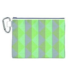 Squares Triangel Green Yellow Blue Canvas Cosmetic Bag (L)