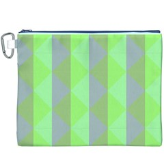 Squares Triangel Green Yellow Blue Canvas Cosmetic Bag (XXXL)