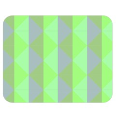 Squares Triangel Green Yellow Blue Double Sided Flano Blanket (Medium)