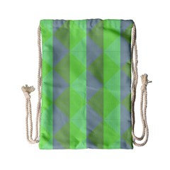 Squares Triangel Green Yellow Blue Drawstring Bag (Small)