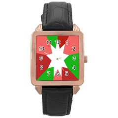 Star Flag Color Rose Gold Leather Watch