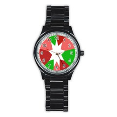 Star Flag Color Stainless Steel Round Watch