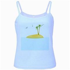 Summer Sea Beach Baby Blue Spaghetti Tank