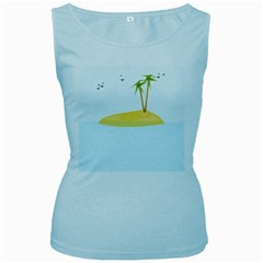 Summer Sea Beach Women s Baby Blue Tank Top