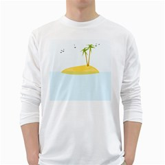 Summer Sea Beach White Long Sleeve T-Shirts