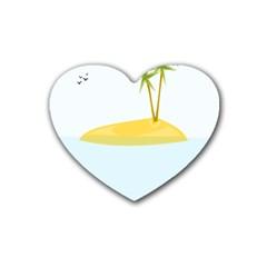 Summer Sea Beach Heart Coaster (4 pack)