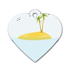 Summer Sea Beach Dog Tag Heart (Two Sides)
