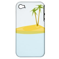 Summer Sea Beach Apple iPhone 4/4S Hardshell Case (PC+Silicone)
