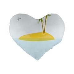 Summer Sea Beach Standard 16  Premium Heart Shape Cushions