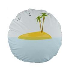Summer Sea Beach Standard 15  Premium Flano Round Cushions