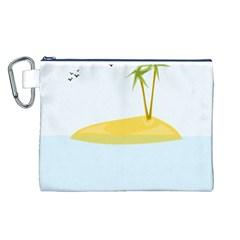 Summer Sea Beach Canvas Cosmetic Bag (L)
