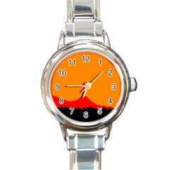 Sunset Orange Simple Minimalis Orange Montain Round Italian Charm Watch