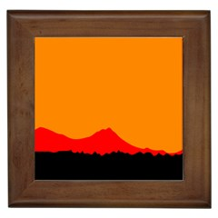 Sunset Orange Simple Minimalis Orange Montain Framed Tiles