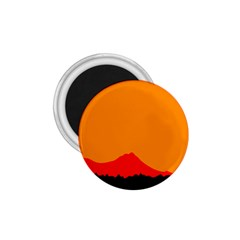 Sunset Orange Simple Minimalis Orange Montain 1.75  Magnets