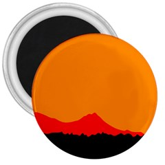 Sunset Orange Simple Minimalis Orange Montain 3  Magnets