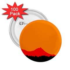 Sunset Orange Simple Minimalis Orange Montain 2.25  Buttons (100 pack)