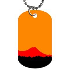 Sunset Orange Simple Minimalis Orange Montain Dog Tag (One Side)