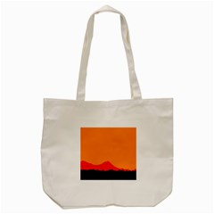 Sunset Orange Simple Minimalis Orange Montain Tote Bag (Cream)
