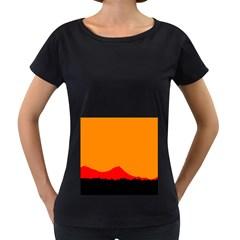 Sunset Orange Simple Minimalis Orange Montain Women s Loose-Fit T-Shirt (Black)