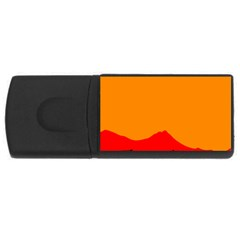 Sunset Orange Simple Minimalis Orange Montain USB Flash Drive Rectangular (4 GB)