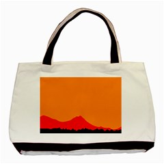 Sunset Orange Simple Minimalis Orange Montain Basic Tote Bag