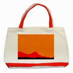 Sunset Orange Simple Minimalis Orange Montain Classic Tote Bag (Red)