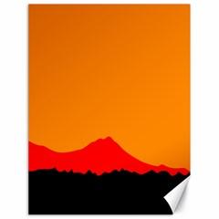 Sunset Orange Simple Minimalis Orange Montain Canvas 18  x 24