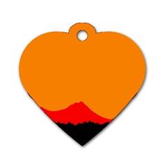 Sunset Orange Simple Minimalis Orange Montain Dog Tag Heart (One Side)